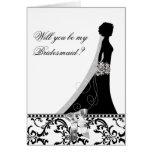 Bridesmaid Card with Damask Bridal Veil Bow