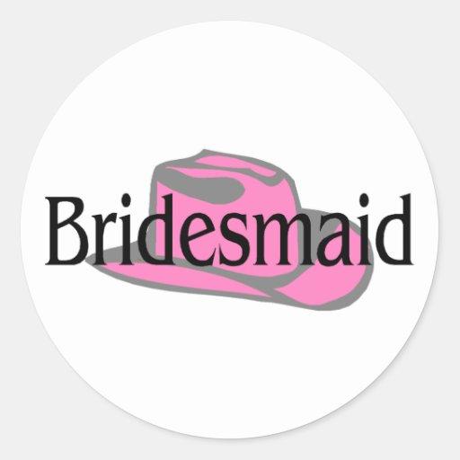 Bridesmaid (Cowboy Hat) Classic Round Sticker