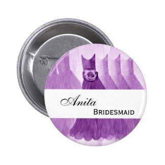BRIDESMAID Custom Name ID Button Purple Gowns V2