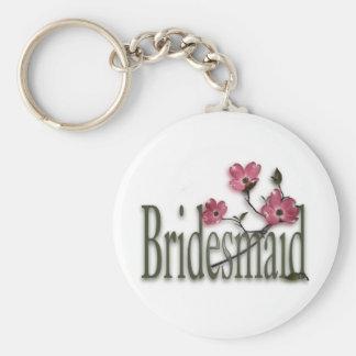 Bridesmaid/ Dogwood Wedding Basic Round Button Key Ring