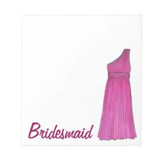 Bridesmaid Dress Wedding Bridal Party Gift Notepad