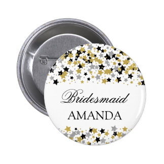 Bridesmaid Favor Gold Foil Look Stars Confetti 6 Cm Round Badge