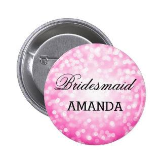 Bridesmaid Favor Pink Glitter Lights 6 Cm Round Badge
