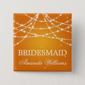 Bridesmaid Favor Sparkling String Orange 15 Cm Square Badge