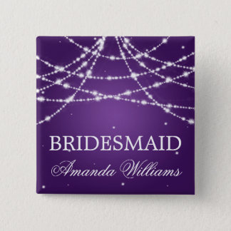 Bridesmaid Favor Sparkling String Purple 15 Cm Square Badge
