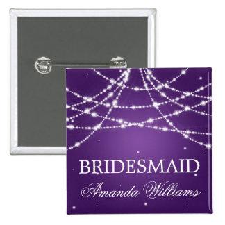 Bridesmaid Favor Sparkling String Purple 15 Cm Square Badge