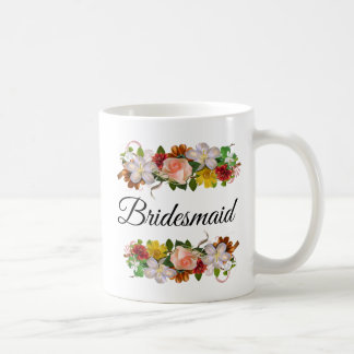 Bridesmaid Floral Rose Bouquet Mug