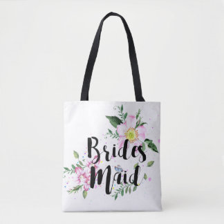Bridesmaid Floral Watercolor Wedding Tote Bag