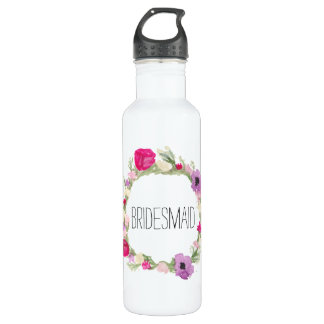 Bridesmaid Floral Wreath Watercolor 710 Ml Water Bottle