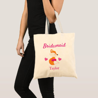 Bridesmaid Fox and Hearts Tote Bag