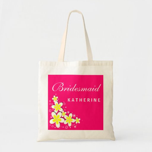 Bridesmaid Frangipani Floral Budget Tote Bag Bag