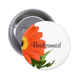 Bridesmaid: Gerbera Daisy in Tangerine 6 Cm Round Badge