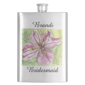 Bridesmaid Gift Watercolor Art Pink Flower Iris Flask