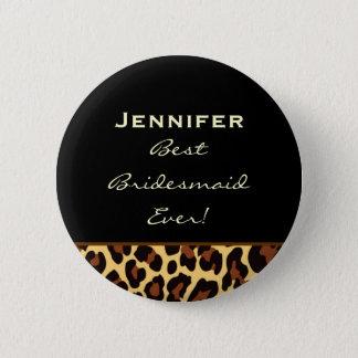 Bridesmaid Gold Leopard Custom Name 6 Cm Round Badge