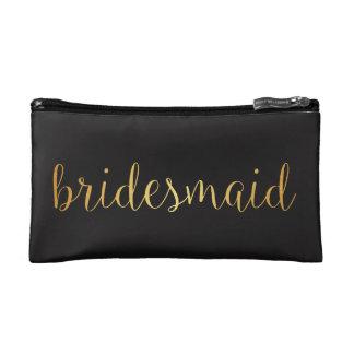 bridesmaid golden Makeup Bag