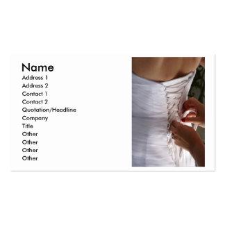 Bridesmaid hand lacing wedding dress photograph business cards