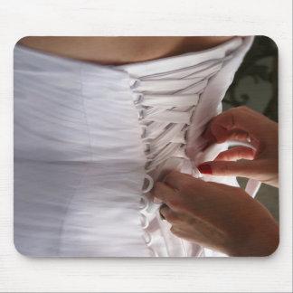 Bridesmaid hand lacing wedding dress photograph mouse pad