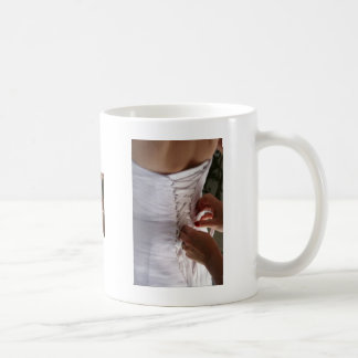 Bridesmaid hand lacing wedding dress photograph coffee mugs