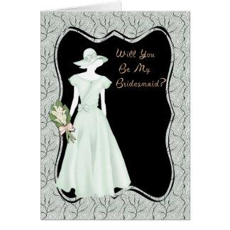 Bridesmaid Invitation Green Greeting Card