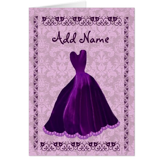 BRIDESMAID Invitation PURPLE Velvet Gown R701