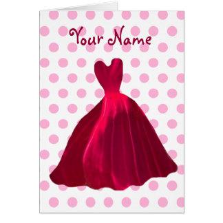 BRIDESMAID Invitation ROSE RED Velvet Gown V5 Greeting Card