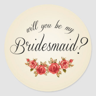 Bridesmaid Invitation Round Sticker