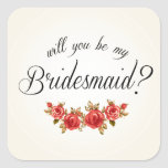 Bridesmaid Invitation Square Stickers