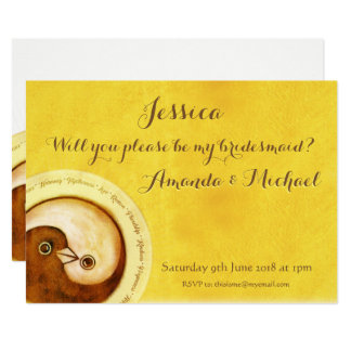 BRIDESMAID INVITE gold doves customisable