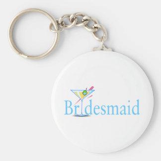 Bridesmaid Martini Blue Basic Round Button Key Ring