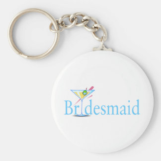 Bridesmaid Martini Blue Key Ring