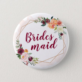 Bridesmaid - Modern Geometric Gold Frame Floral 6 Cm Round Badge