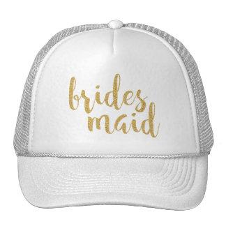 BridesMaid Modern Glitter Text Design Cap