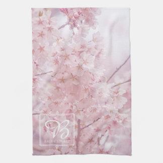 Bridesmaid Monogram Pale Pink Cherry Blossoms Tea Towel