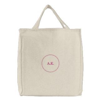 Bridesmaid monogram pink star embroidered tote bag