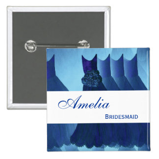 BRIDESMAID Navy Blue Gowns F200B1 Pinback Button