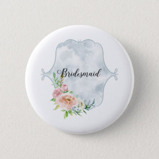 Bridesmaid Periwinkle Vignette 6 Cm Round Badge