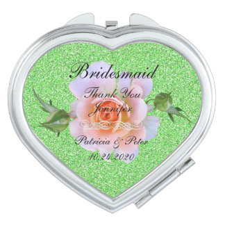 Bridesmaid Personalised Glitter Compact Mirror