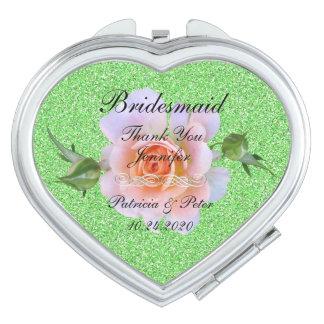Bridesmaid Personalized Glitter Compact Mirror