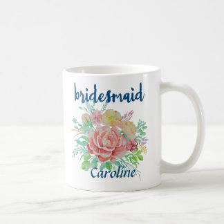 Bridesmaid Personalized Vintage Floral Watercolor Coffee Mug
