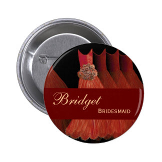 BRIDESMAID Pin Button Orange Gowns M309