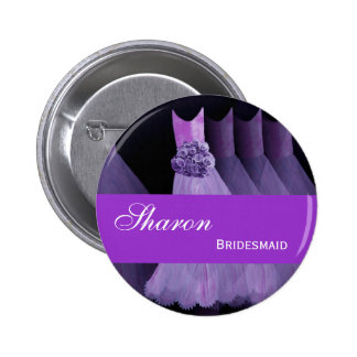 BRIDESMAID Pin Button Purple Gowns M393