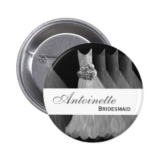 BRIDESMAID Pin Button Silver Gowns M451
