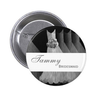 BRIDESMAID Pin Button Silver Gray Gowns M403