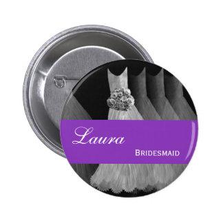 BRIDESMAID Pin Button Silver Purple Gowns M40E
