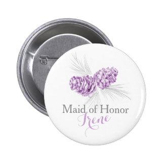 Bridesmaid pine cone purple wedding pin button
