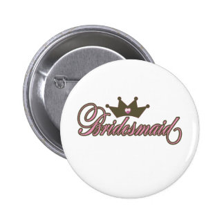 bridesmaid pink and brown badge/button 6 cm round badge