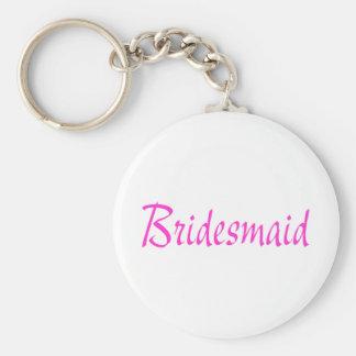 Bridesmaid Pink Basic Round Button Key Ring