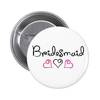 Bridesmaid Pink Black Hearts Button