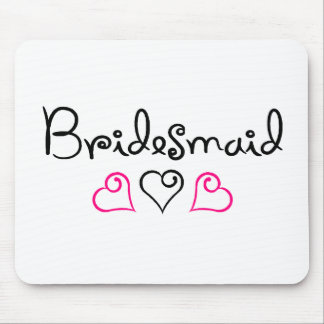 Bridesmaid Pink Black Hearts Mousepads