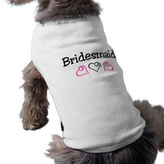 Bridesmaid Pink Black Hearts Sleeveless Dog Shirt